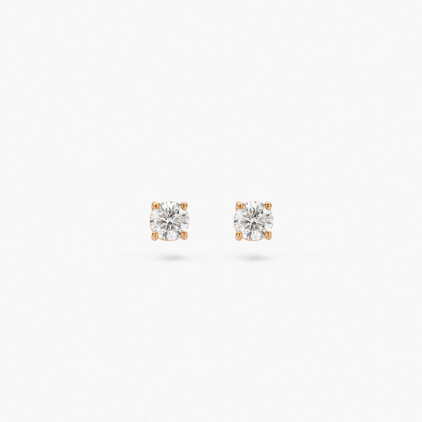Rose gold earrings ((1848))  set with brilliants