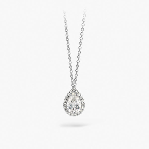 White gold pendant ((1848 Entourage)) set with a pear shaped diamond and brilliants