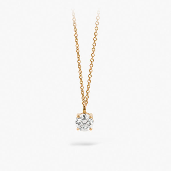 Rose gold pendant ((1848)) set with a brilliant shaped diamond