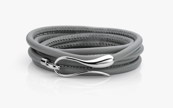 Grey leather bracelet with white gold clasp