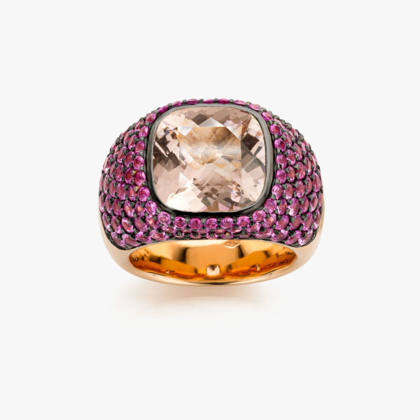 Solis ring in rose gold set with morganite and pink sapphires