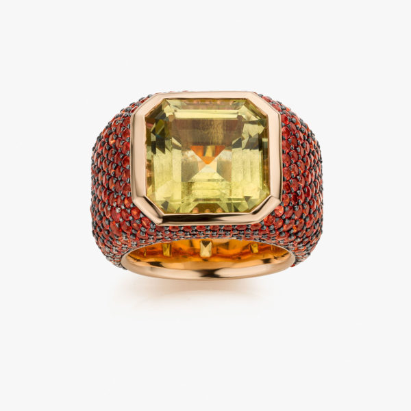 Solis ring in rose gold set with a citrine and orange sapphires