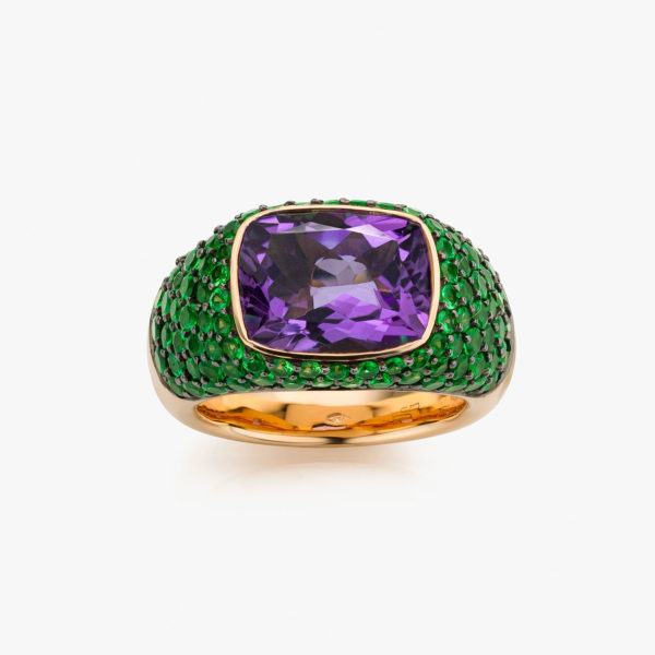 Solis ring in rose gold with amethyst and tsavorites