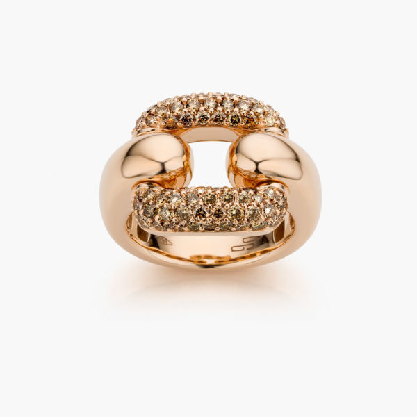 Rose gold Link ring with central link in diamond pave