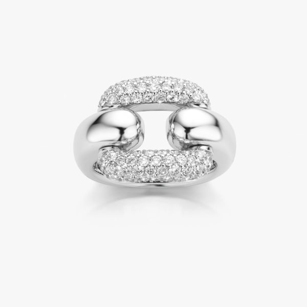 White gold Link ring with central link in diamond pave