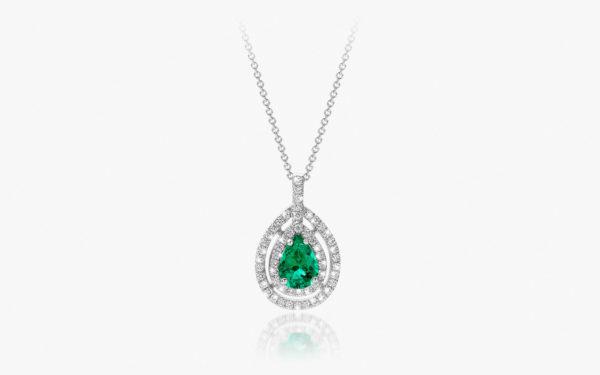 Pendentif Emeraude Diamants Or Blanc Chromatic Joallerie Degreef