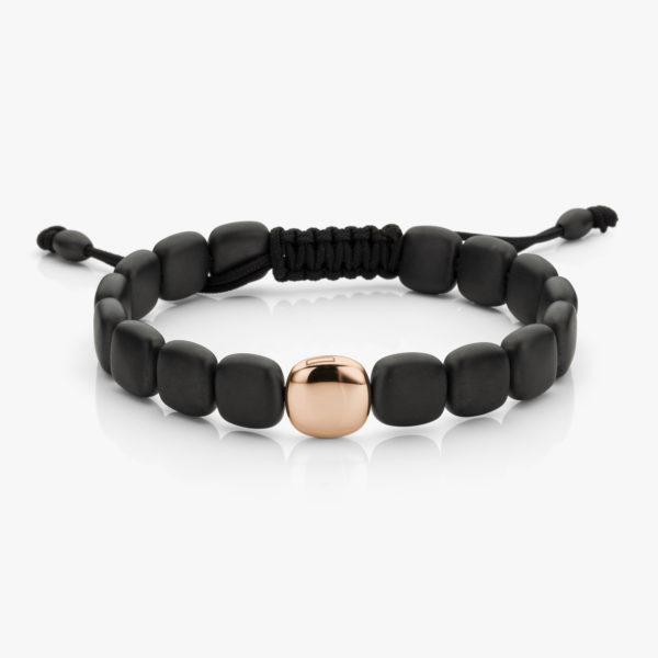 Armband Breed Keramiek Zwart Een Roos Goud Men Juwelen Degreef1848