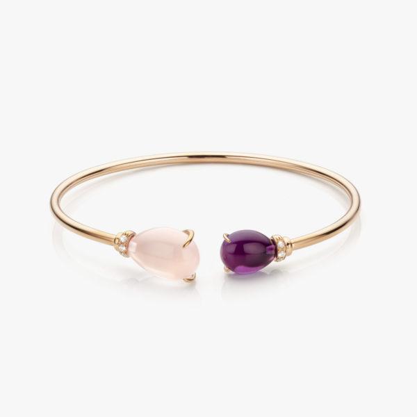 Roodgouden armband gezet met roze quartz, amethist en briljanten