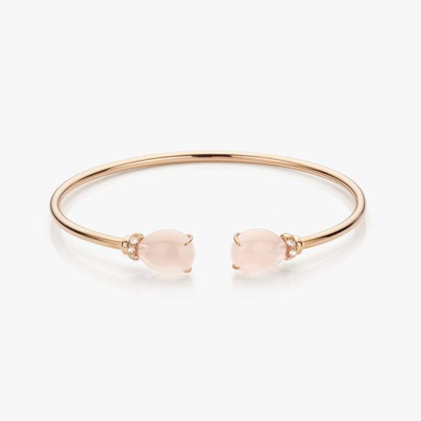 Roodgouden armband gezet met roze quartz en briljanten