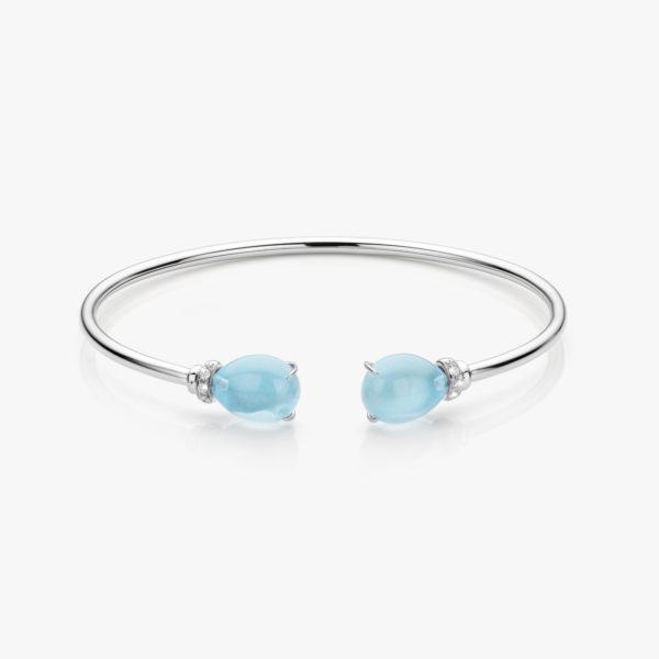 Witouden armband gezet met blauwe topazen en briljanten
