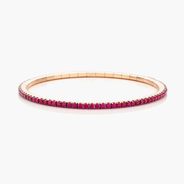 Roodgouden armband ((Extensible)) gezet met robijnen