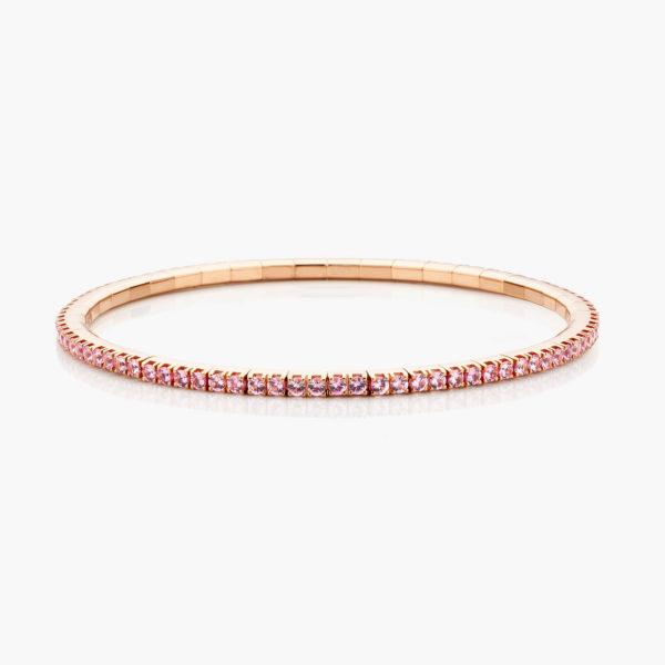 Roodgouden armband ((Extensible)) gezet met roze saffieren