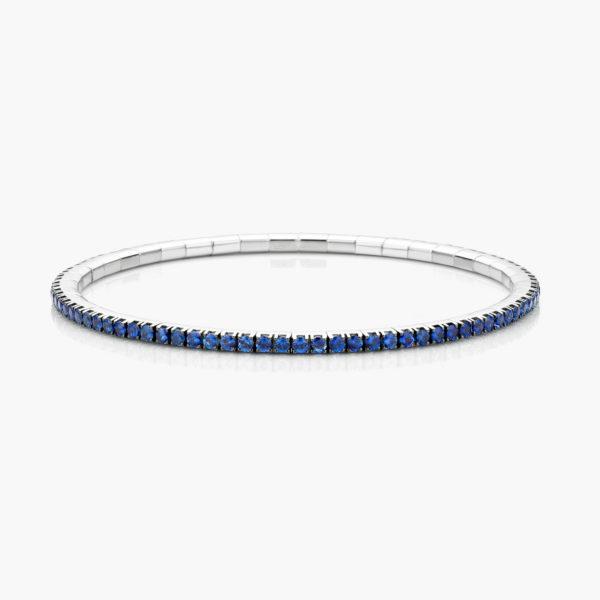 Witgouden armband ((Extensible)) gezet met blauwe saffieren