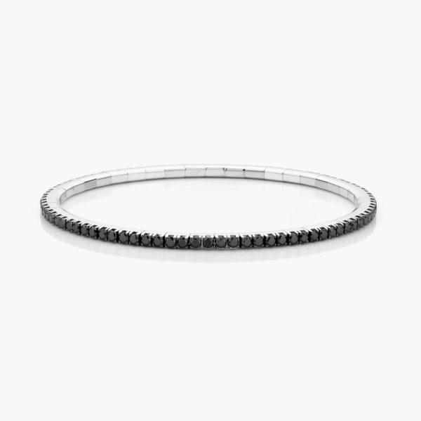 Witgouden armband ((Extensible)) gezet met zwarte briljanten