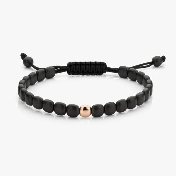 Armband Fijn Keramiek Zwart Een Roos Goud Men Collection Juwelen Degreef1848