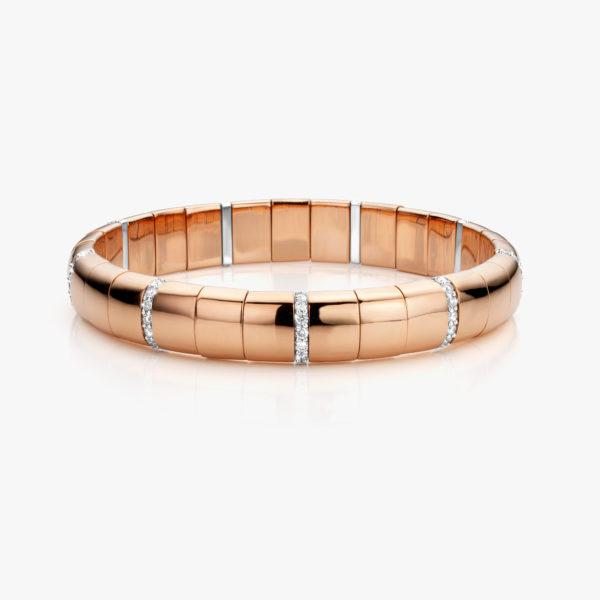 Roodgouden armband ((Pura Oro)) gezet met briljanten
