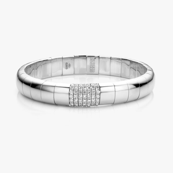 Witgouden armband ((Pura Oro)) gezet met briljanten