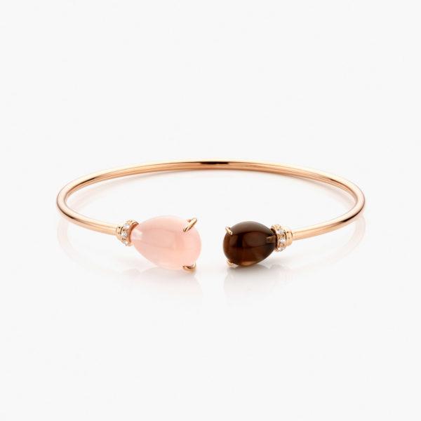 Roodgouden armband gezet met bruine en roze quartz en briljanten