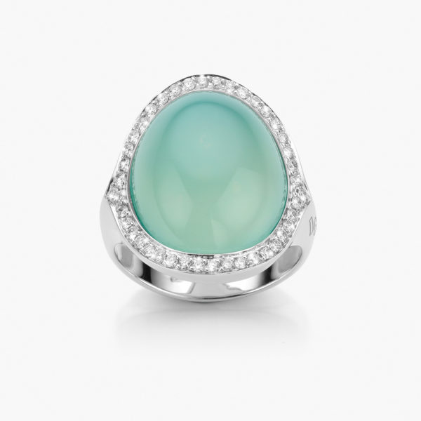 Bague Cabochon Or Blanc Calcedoine Verte Diamants Joaillerie Maison De Greef 1848