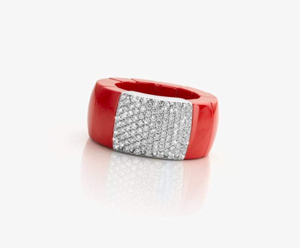 Bague Ceramique Corail Diamants Or Blanc Designed For Dg Domino Demeglio Joaillerie Degreef