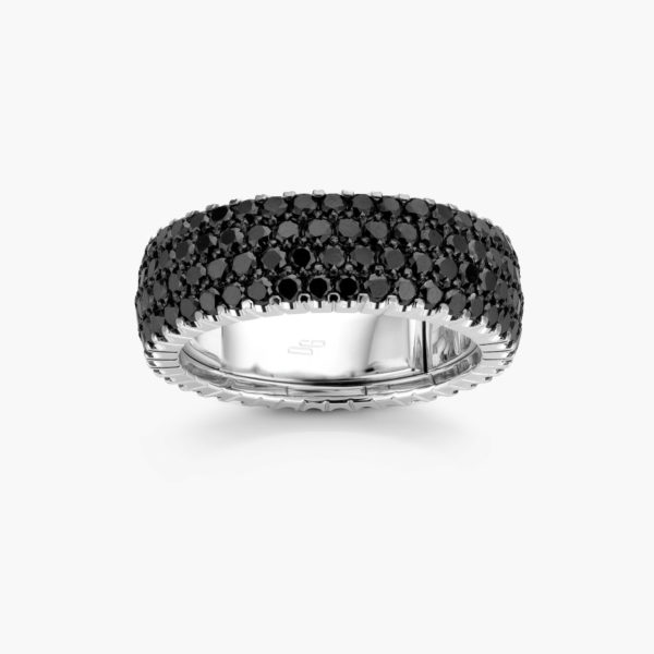Bague en or blanc ((Extensible)) sertie de brillants noirs