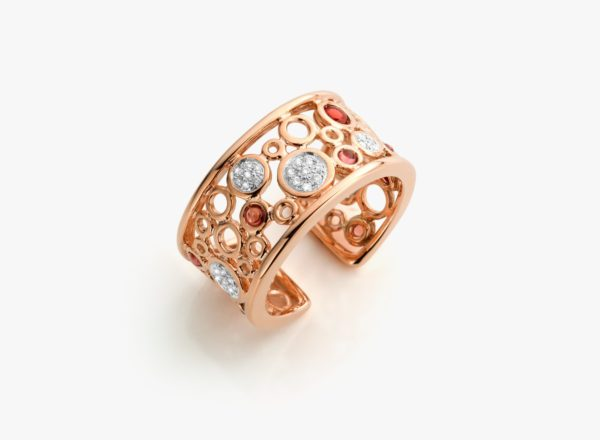 Bague Grenat Diamants Or Rose Lace Gold Joaillerie Degreef