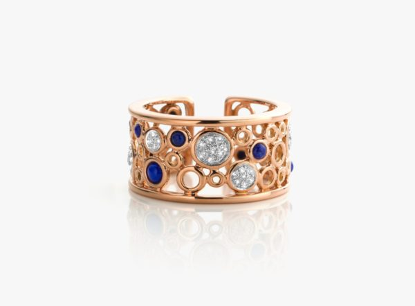 Bague Lapis Diamants Or Rose Lace Gold Joaillerie Degreef