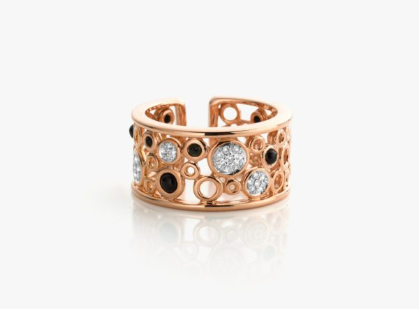 Bague Onyx Diamants Or Rose Lace Gold Joaillerie Degreef