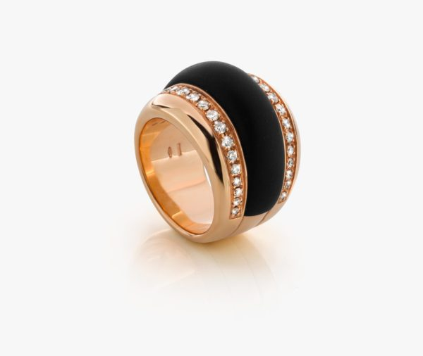 Bague Onyx Diamants Or Rose Links Joaillerie Degreef