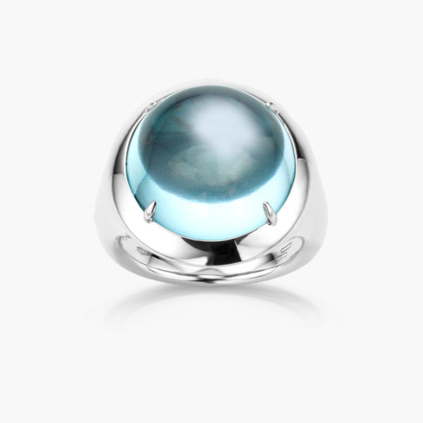 Bague Or Blanc Large Topaze Sky Blue Joaillerie Cabochon Maison De Greef 1848