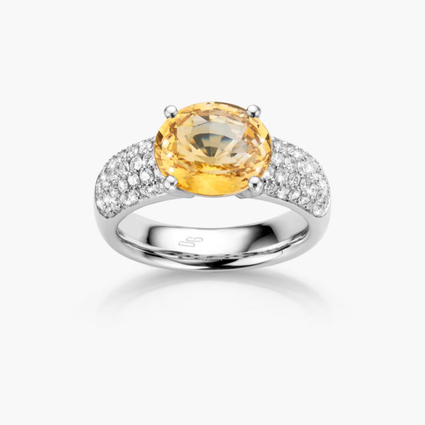 Bague Or Blanc Saphir Orange Diamants Brillants Joaillerie Precious Maison De Greef 1848