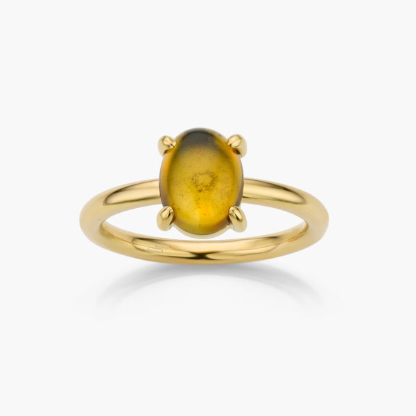 Bague Or Jaune Tourmaline Jaune Joaillerie Cabochon Maison De Greef 1848