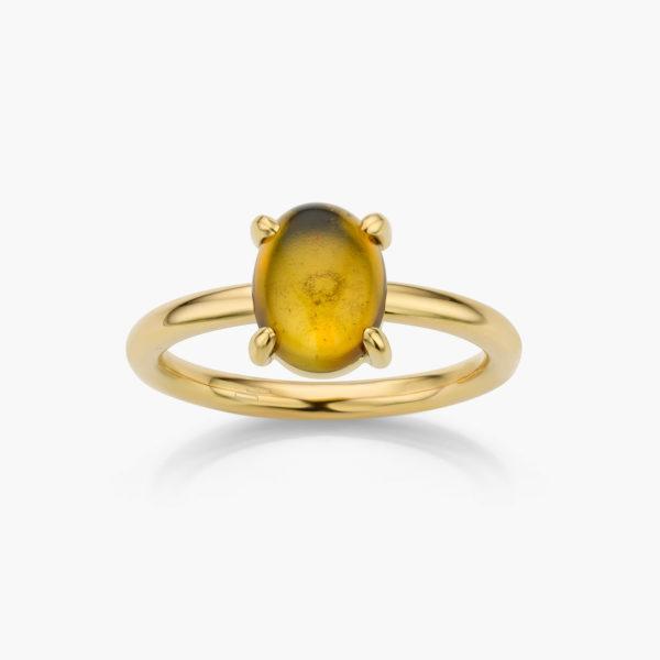 Bague en or jaune sertie d'une tourmaline jaune