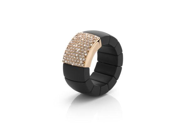 Bague ((Domino)) en céramique noire, or rose et diamants