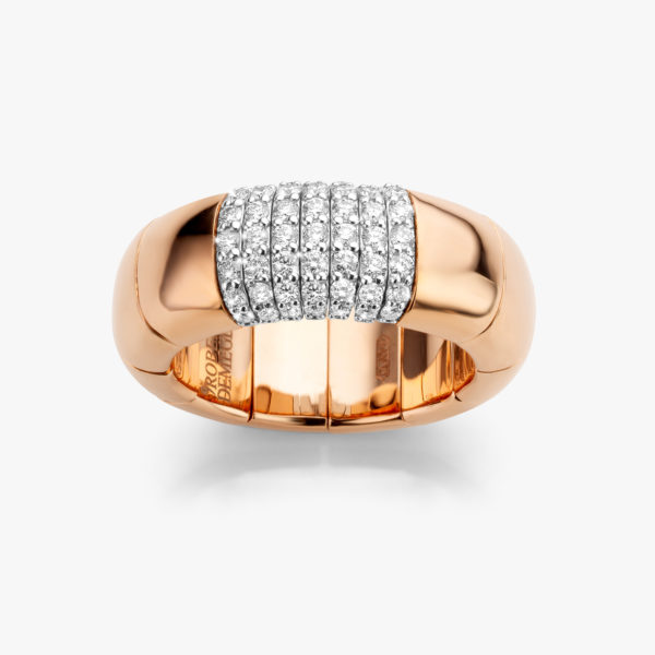 Bague ((Pura Oro)) en or rose sertie de brillants