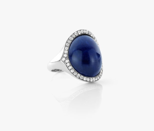 Bague Sodalite Diamants Or Blanc Cabochon Joaillerie Degreef