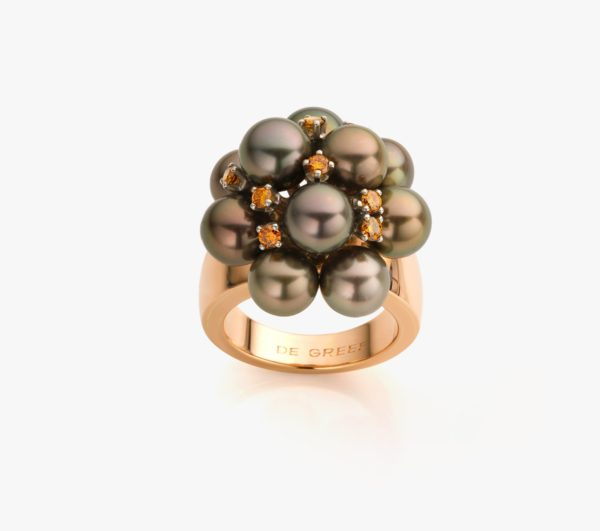 Bague en or rose, perles Tahiti et diamants ((Fancy Brown))