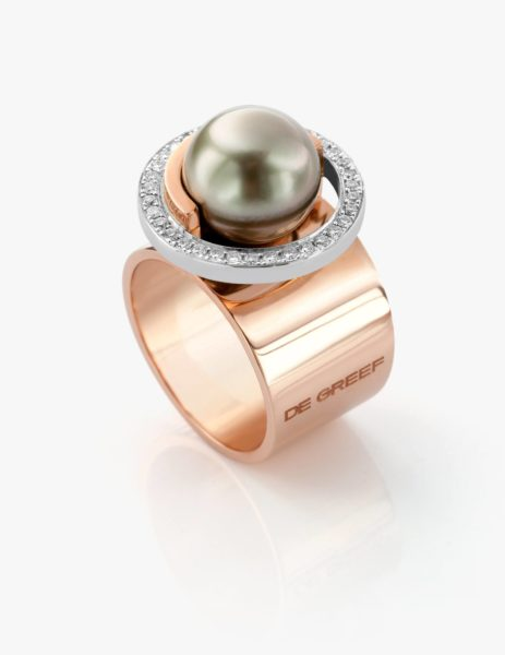 Rose and white gold ring, with Tahitian pearls and diamonds