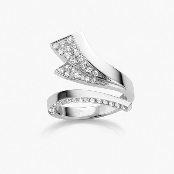 Bague Wave Or Blanc Diamants Joaillerie Maison De Greef 1848