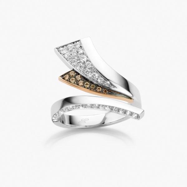 Bague Wave Or Blanc Rose Diamants Brun Joaillerie Maison De Greef 1848