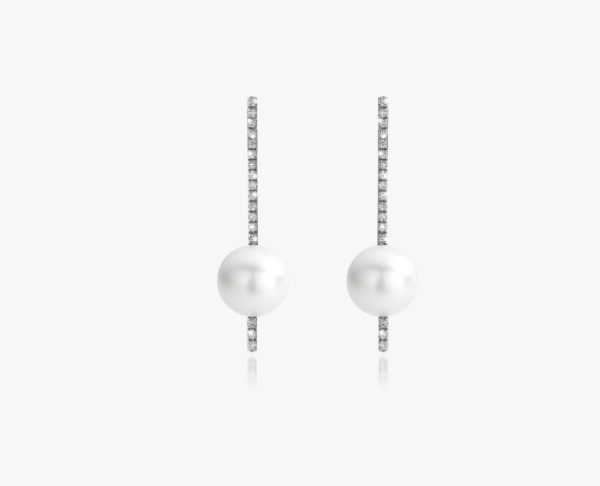 White gold, Akoya pearl and diamond earrings