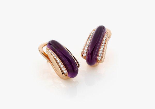 Boucles Oreilles Amethyste Diamants Or Rose Links Joaillerie Degreef