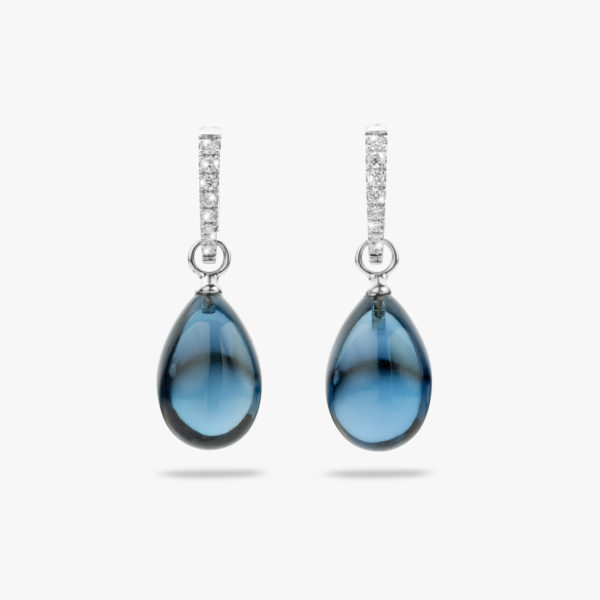 Boucles Oreilles Cabochon Or Blanc Topaze Bleu Diamants Brillants Joaillerie Maison De Greef 1848