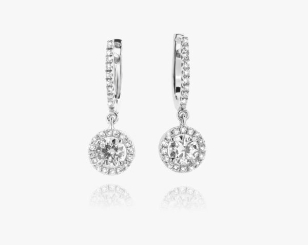 Boucles Oreilles Diamant Brillant Or Blanc Entourage Fiancailles Joaillerie Degreef