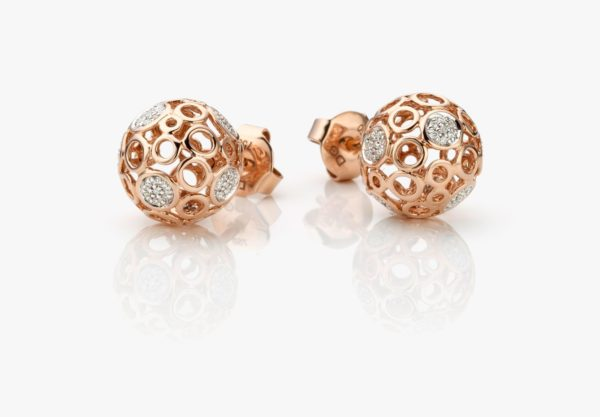 Boucles Oreilles Diamants Or Rose Lace Gold Joaillerie Degreef 1