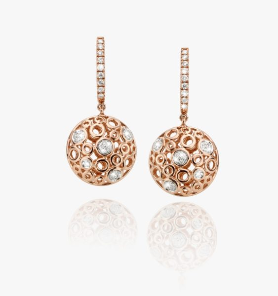 Boucles Oreilles Diamants Or Rose Lace Gold Joaillerie Degreef 2