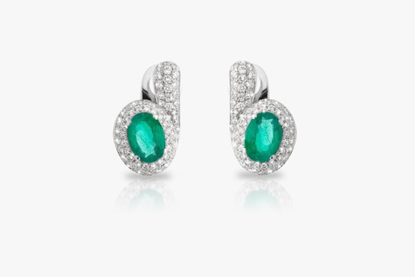 Boucles Oreilles Emeraude Ovale Diamants Pave Or Blanc Tourbillon Joaillerie Degreef