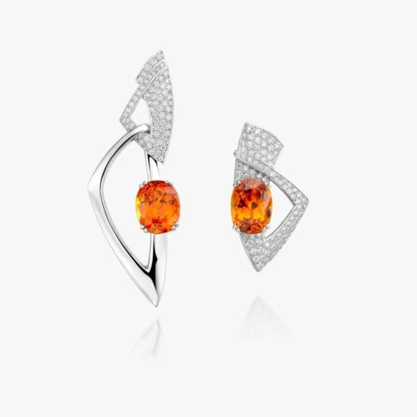 Boucles Oreilles Grenat Mandarin Diamants Or Blanc Piece Unique Joaillerie Degreef