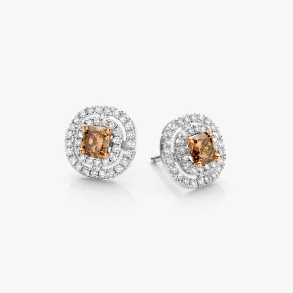 Boucles Oreilles Or Blanc Diamants Fancy Bruin Brillants Diamonds Joaillerie Maison De Greef 1848