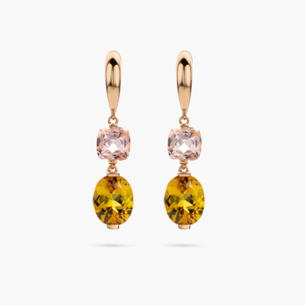Boucles Oreilles Or Rose Morganite Rose Grenat Vert Joaillerie Precious Maison De Greef 1848